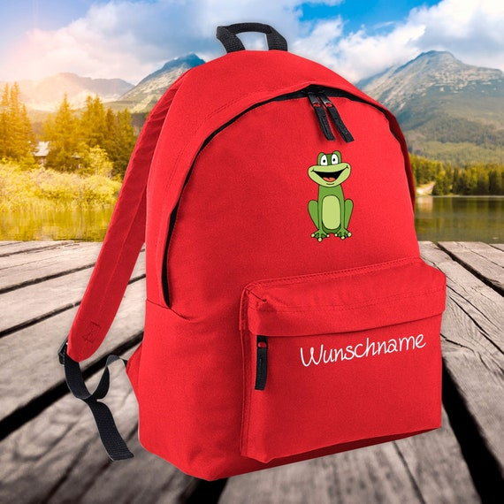 Children's Backpack Animals Frog with Wish Name Wish Text Kita
