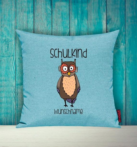 Cushion Cover SchoolChild Sofa Pillow Animals Animal Owl Wish Name Decoration Children's Room Gift Animals Nature Forest School Hort Kita
