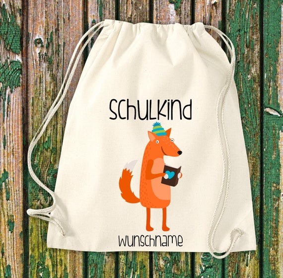 Gym bag Schoolchild Animals Raccoon with fox School Cotton Gym bag Sports bag Bag Bag Enrolment