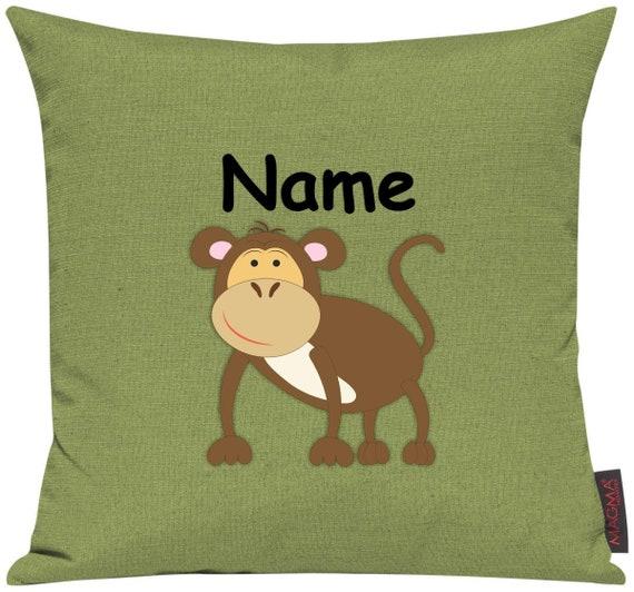 Kissenhülle Sofa Kissen Tiere Animal Affe Wunschname Deko Kinderzimmer Geschenk