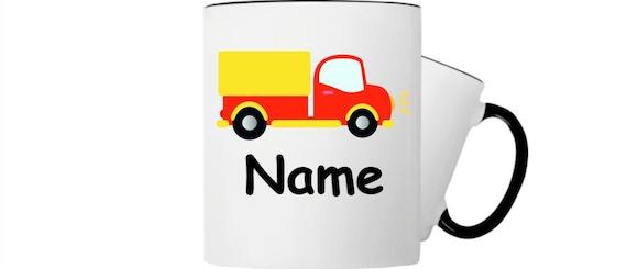 Kinder Tasse Trink Becher LKW Laster mit Wunschnamen