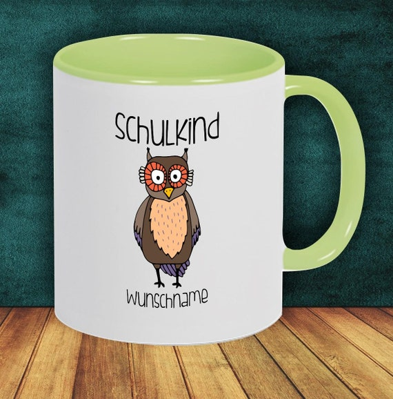 Children Cup Drinking Cup Schoolchild Owl with Desired Name Enrollment Kita Hort Birthday School Teacup