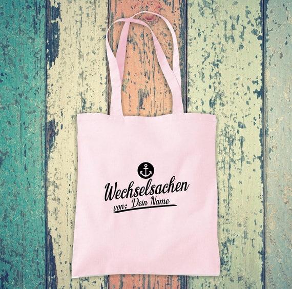 Cloth bag Change of clothes Anchor with desired name, desired text School Cotton Jute Sports bag Bag Bag Bag Hort Enrollment Kita