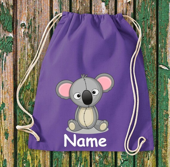 Cotton gym bag gymbag kids motif koala with wishnames kids bag backpack sports bag