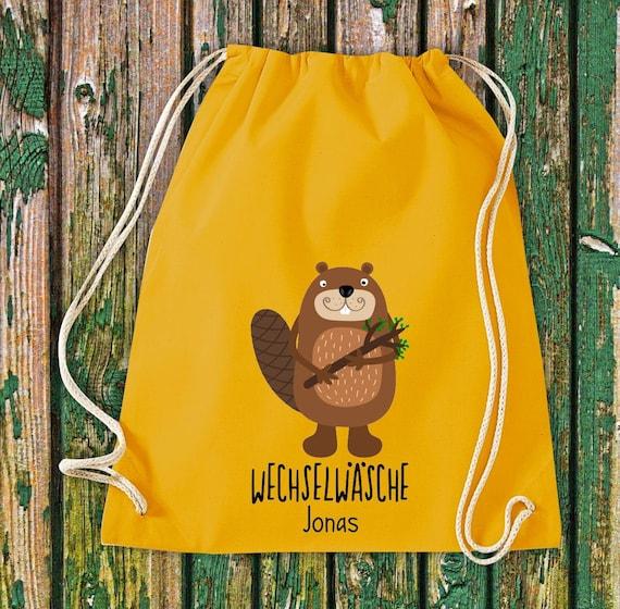 """Gym bag Sports bag """"funny animals Beaver, change of linen with desired text Kita Hort School Cotton Gym bag Bag bag"""