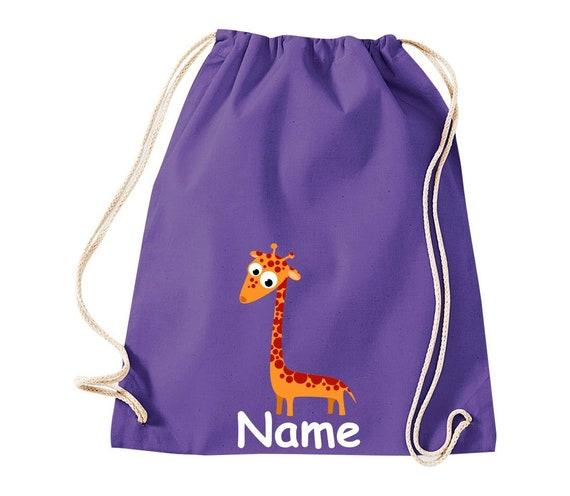 Baumwolle Turnbeutel Gymsack Kinder Motiv Giraffe mit Wunschnamen