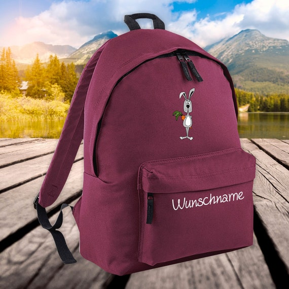Children's Backpack Animals Bunny with Wish Name Wish Text Kita