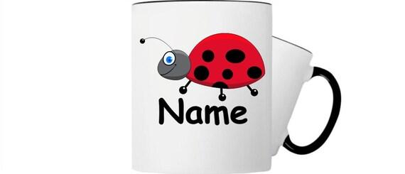 Children's cup drink mug ladybug with wishful name