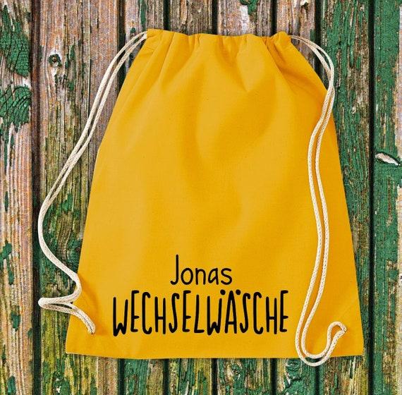"""Gym bag sports bag """"Change linen with wish names"""" Wish text name Kita Hort School cotton gym bag bag"""