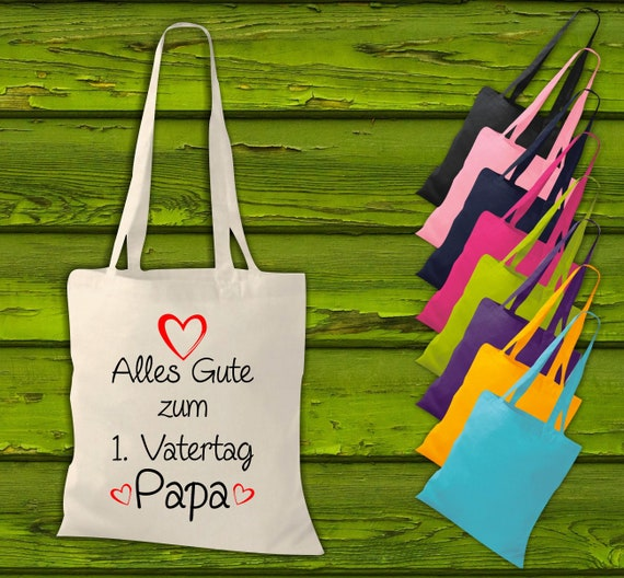 """shirtinstyle fabric bag """"Happy 1st Father's Day Dad"""" jute cotton bag shopping bag gift idea"""