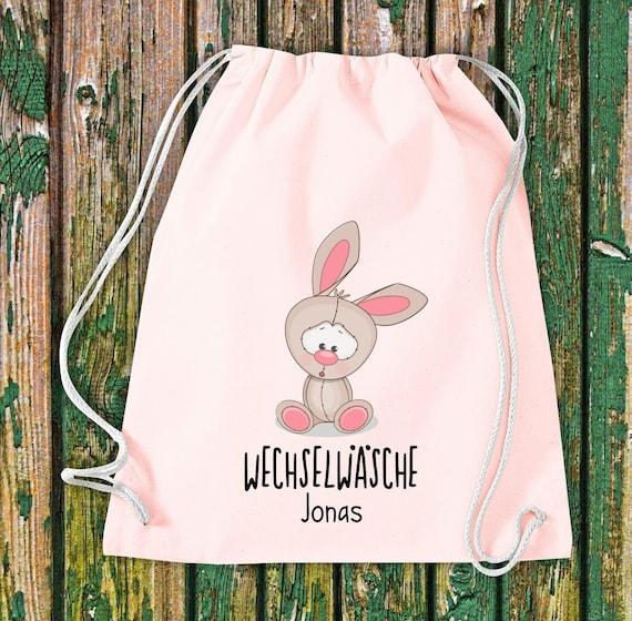 Gym bag Sports bag Change of linen, rabbit with desired text Kita Hort School Cotton Gym bag Bag Bag bag