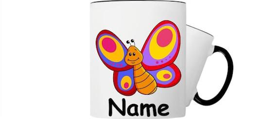 Kinder Tasse Trink Becher Schmetterling mit Wunschnamen
