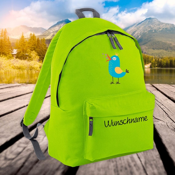 Children's Backpack Animals Sparrow Bird with Wish Name Wish Text Kita