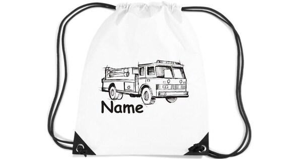 Nom de demande de camion de pompier enfants gym sacs motif