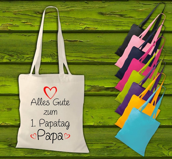 """shirtinstyle fabric bag """"Happy 1st Dad's Day Dad"""" Jute Cotton Bag Shopping Pouch Gift Idea"""