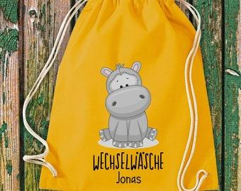 Gym bag Sports bag Change of linen, hippo with desired text Kita Hort School Cotton Gym bag Bag Bag bag