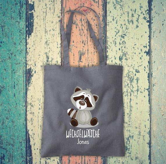 Cloth bag Change of linen, raccoon with desired name, desired text school cotton jute sports bag bag bag bag hort enrolment kindergarten animal