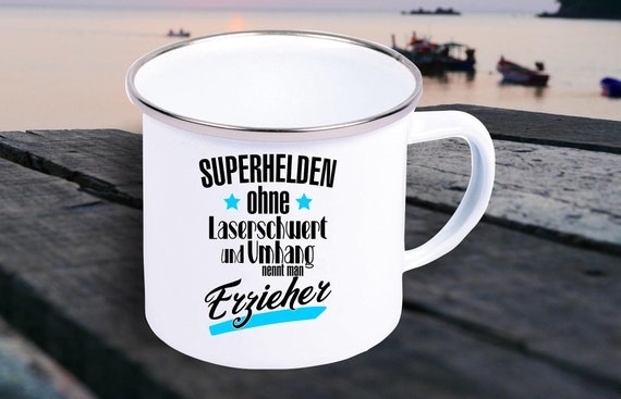 "Enamel Mug ""Superheroes without laser sword and cloak are called educators"" cup coffee cup mug Mug Retro"