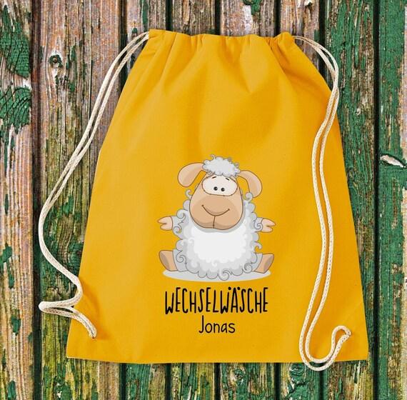 Gym bag Sports bag Change of linen, sheep with desired text Kita Hort School Cotton Gym bag Bag bag bag