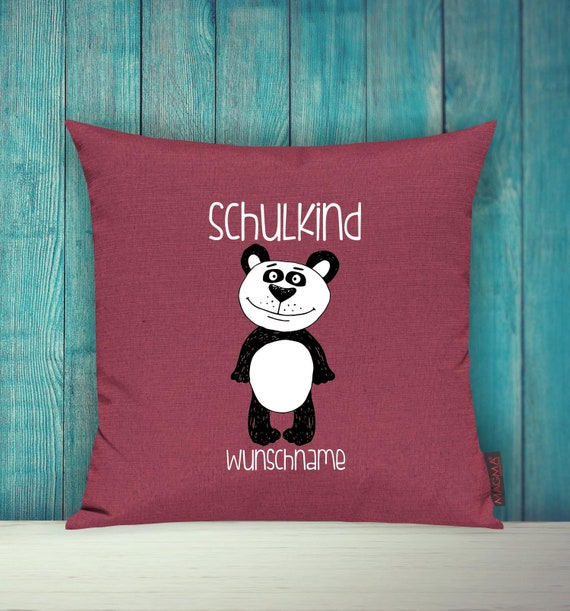 Pillow Case SchoolChild Sofa Pillow Animals Animal Panda Bear Wish Name Decoration Children's Room Gift Animals Nature Forest School Hort Kita