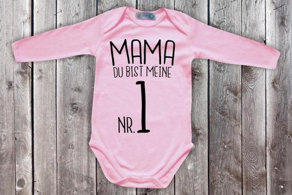 Baby Body Langarm  Babybody Mama du bist meine Nr. 1 Geschenk Longsleeve