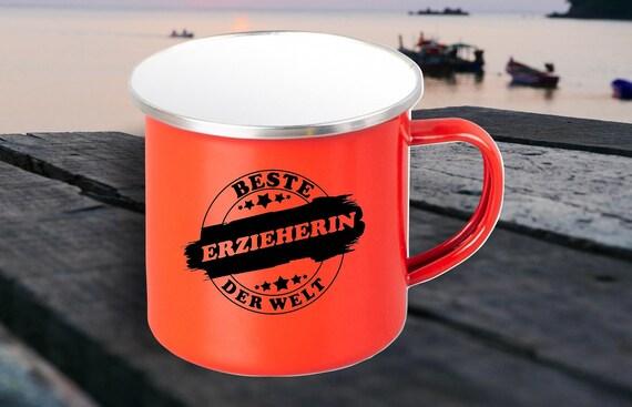 """Emaille Becher """"Bester Erzieher der Welt"""" Tasse Kaffeetasse Kaffeebecher Mug Retro"""