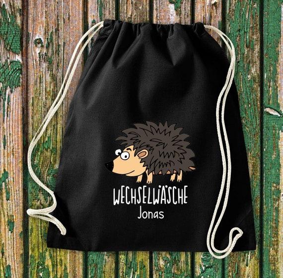 """Gym bag Sports bag """"funny animals hedgehog, change of linen with desired text Kita Hort School Cotton Gym bag Bag Bag Enrollment"""