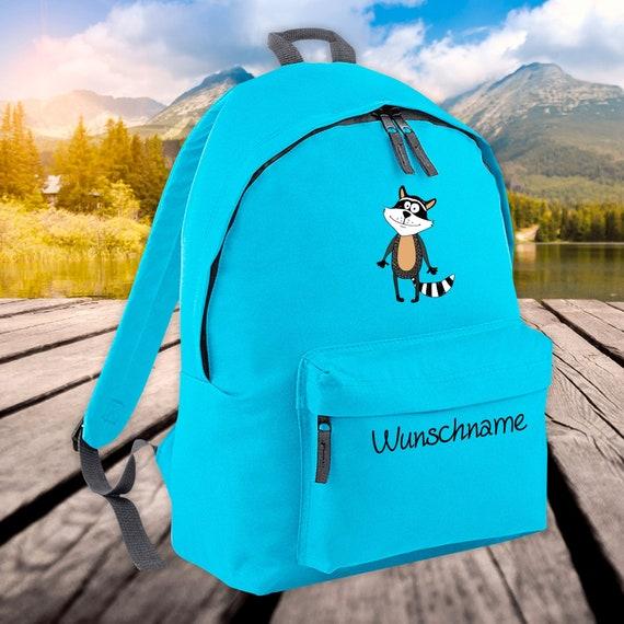 Children's Backpack Animals Raccoon with Wish Name Wish Text Kita