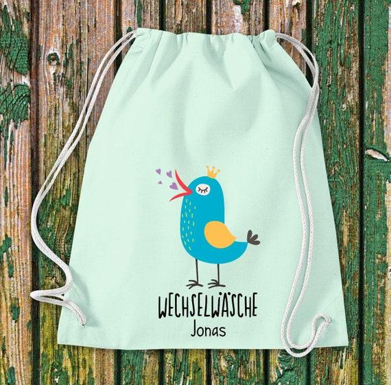 "Gym bag sports bag ""funny animals bird sparrow, change of linen with desired text Kita Hort School cotton gym bag bag bag"