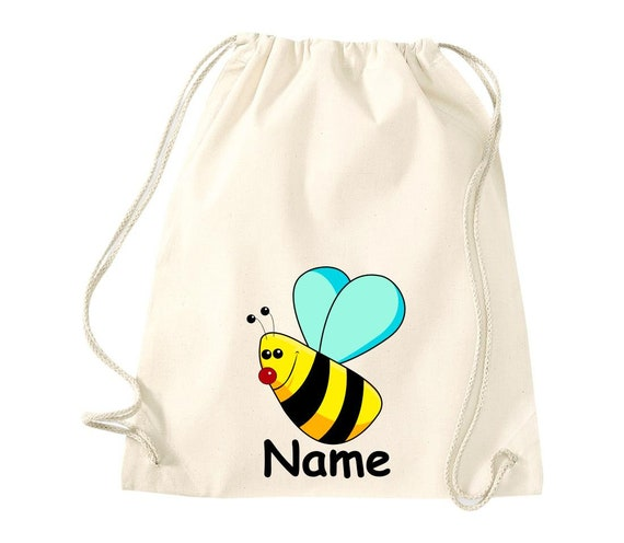 Cotton Gym bag Gymsack Children'S Motif Bee with Wish Name