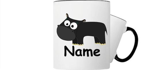 Kinder Tasse Trink Becher Nilpferd mit Wunschnamen