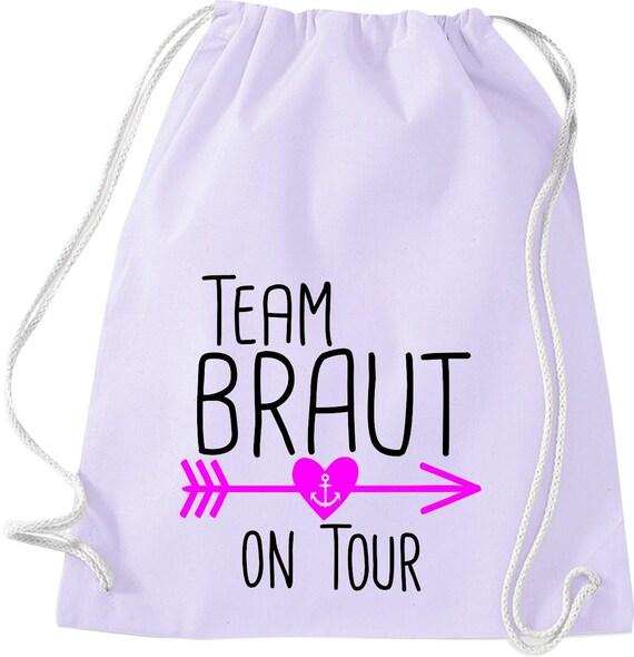 Turnbeutel Team Braut on Tour Junggesellinnen Abschied mit Anker im Herz-Pfeil Baumwolle Gymsack
