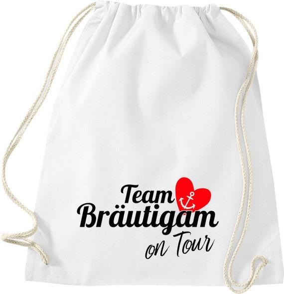 Turnbeutel Team Bräutigam on Tour Junggesellen Abschied mit Anker im Herz Baumwolle Gymsack
