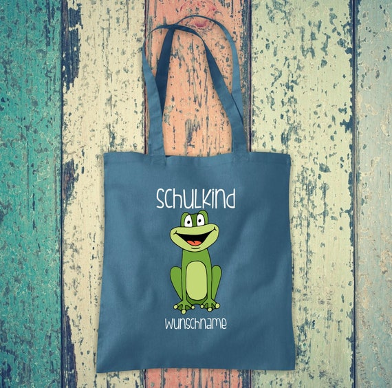 Cloth Bag SchoolChild Animals Frog with Desired Text School Cotton Jute Sports Bag Bag Bag Enrollment