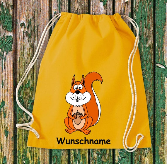 """Gymnastics bag sports bag """"Squirrel with wish name"""" wish text name Kita Hort School cotton gymbag bag pouch"""