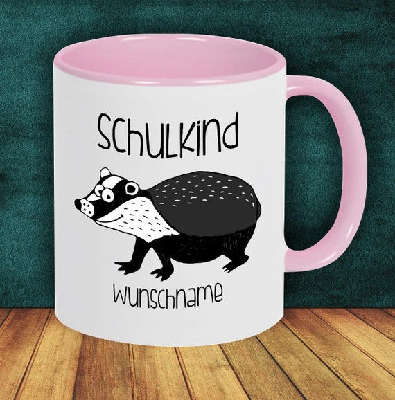 Children Cup Drinking Cup Schoolchild Badger with Desired Name Enrollment Kita Hort Birthday School Teacup
