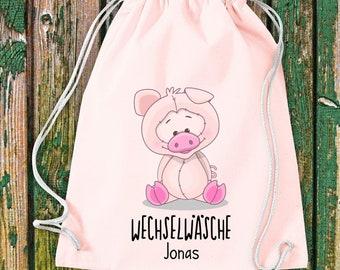 Gym bag Sports bag Change of wash, pig with desired text Kita Hort School Cotton Gym bag Bag Bag bag