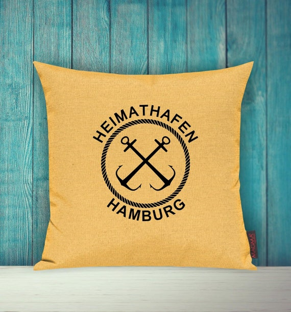 "Cushion cover sofa pillow ""Home port Hamburg"" sofa cushion decoration couch cuddly pillow"