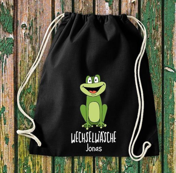 """Gym bag Sports bag """"funny animals frog, change of linen with desired text Kita Hort School Cotton Gym bag Bag bag"""