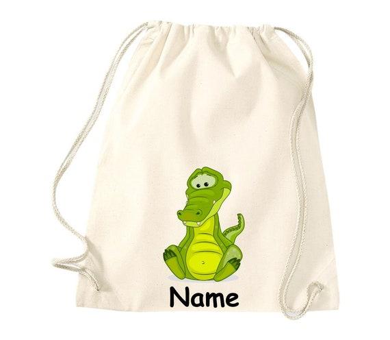 Cotton gym bag gymsack children's motif crocodile with wishful name