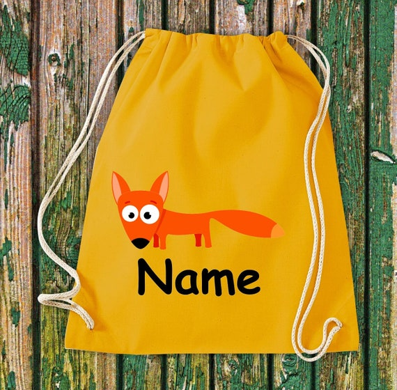 Cotton gym bag gymsack kids motif fox with wish names animals nature meadows forest pouch bag