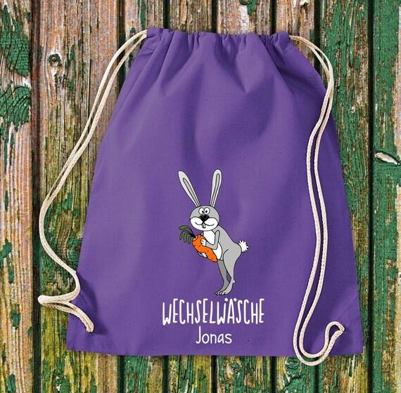 """Gym bag Sports bag """"funny animals rabbit bunny, change of linen with desired text Kita Hort School cotton gym bag bag bag bag"""
