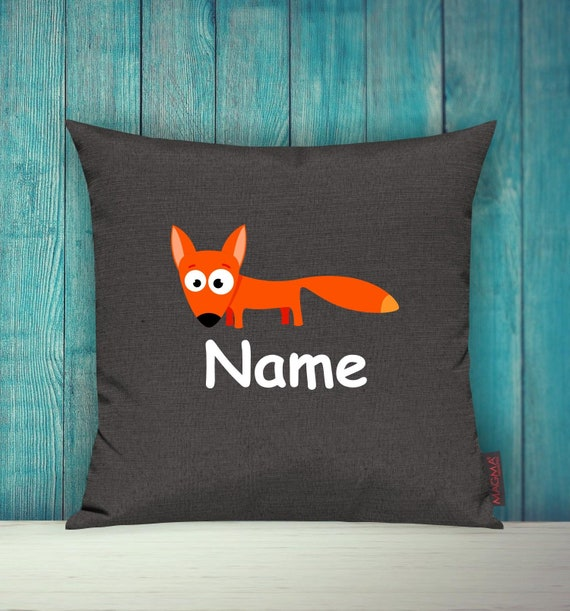 Cushion Cover Sofa Pillow Animals Animal Fox Wish Name Deco Nursery Gift Animals Nature Foxes Forest