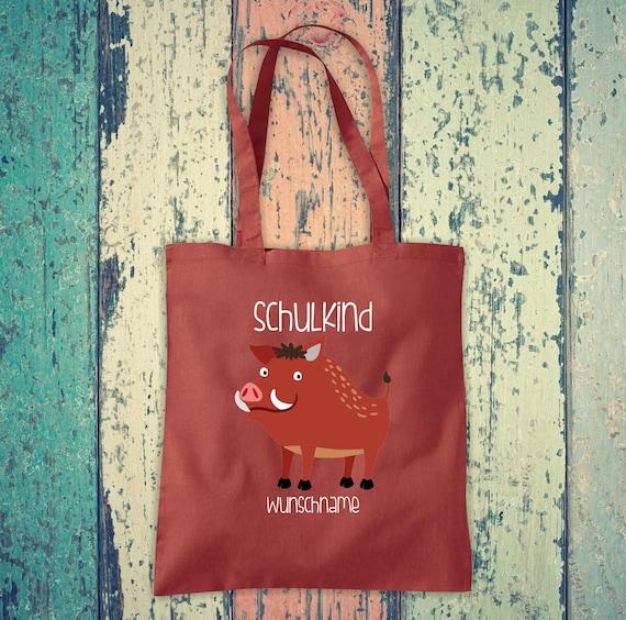 Cloth Bag SchoolChild Animals Wild Boar with Desired Text School Cotton Jute Sports Bag Bag Bag Enrollment