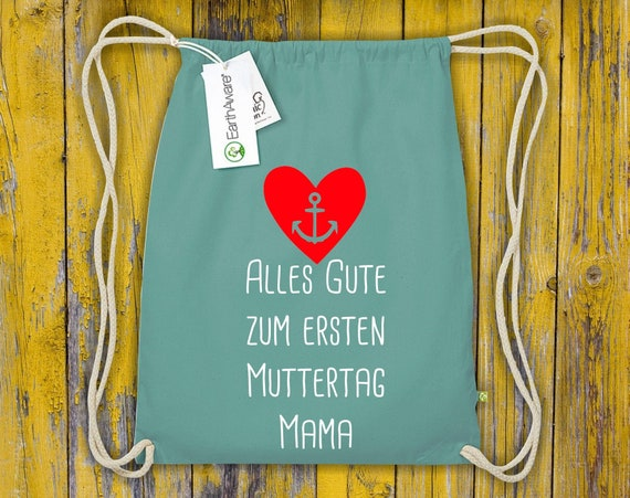 """Organic Gymsack """"All The Happy First Mother's Day Mommy"""" Gym Bag Bag Sports Bag Backpack"""
