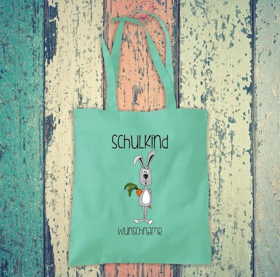 Cloth Bag SchoolChild Animals Rabbit with Desired Text School Cotton Jute Sports Bag Bag Bag Enrollment