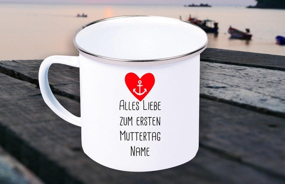 "Enamel Mug ""All Love for First Mother's Day"" with Wish Name or Text Cup Coffee Mug Mug Retro"