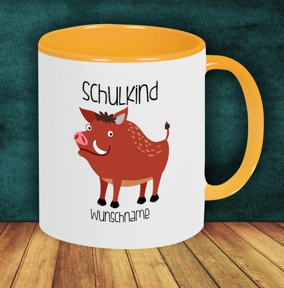 Children Cup Drinking Cup Schoolchild Wild Boar with Desired Name Enrollment Kita Hort Birthday School Teacup