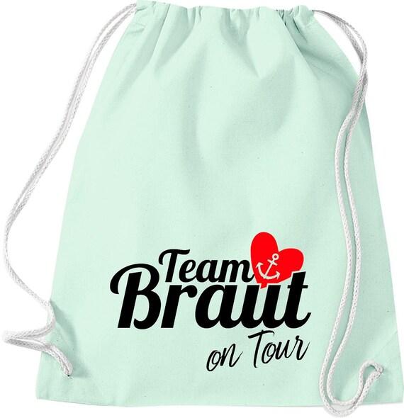 Turnbeutel Team Braut on Tour Junggesellinnen Abschied mit Anker im Herz Baumwolle Gymsack