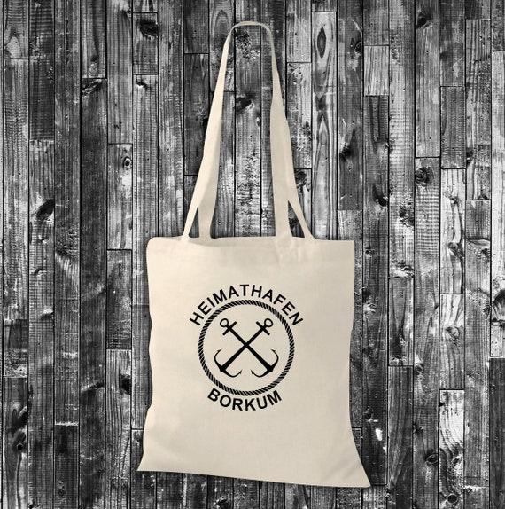 "shirtinstyle fabric bag home port ""Borkum"" love holiday home jute cotton bag shopping bag gift idea"